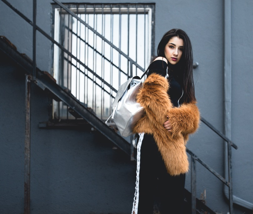Street Style Lace Up Pants Off and Faux Fur Ashley Settingiano