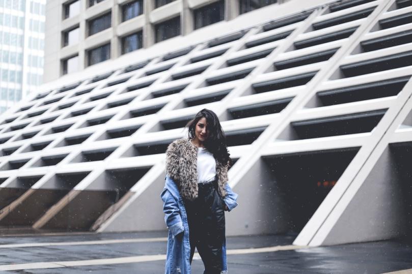 Ashley Settingiano Street Style Leather Denim Styling