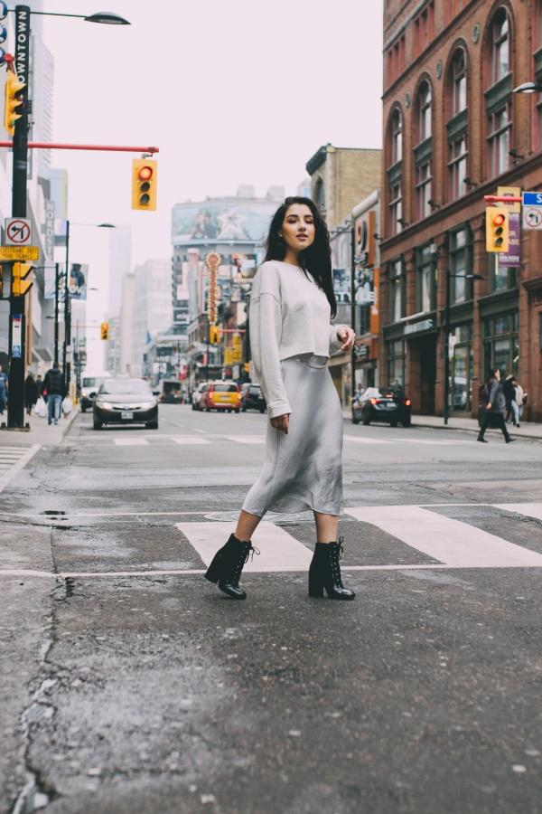 Ashley Settingiano Downtown Street Style Silver Slip Dress