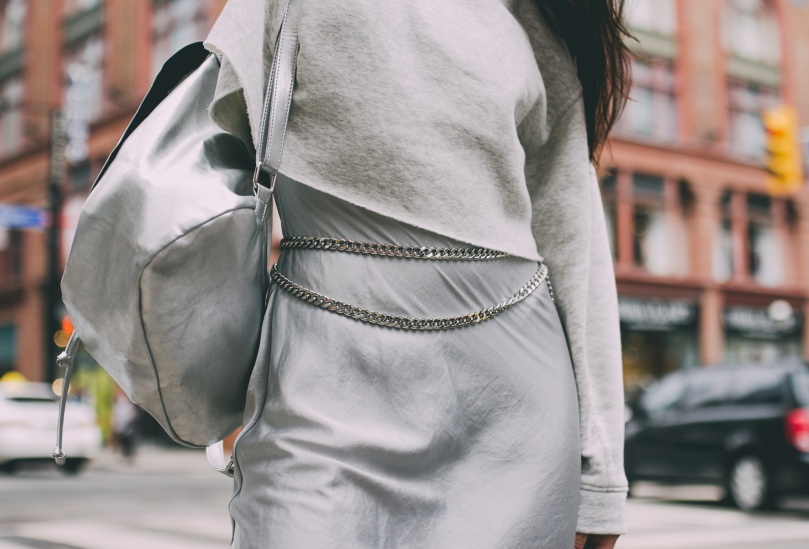 Ashley Settingiano Downtown Street Style Silver Slip Dress