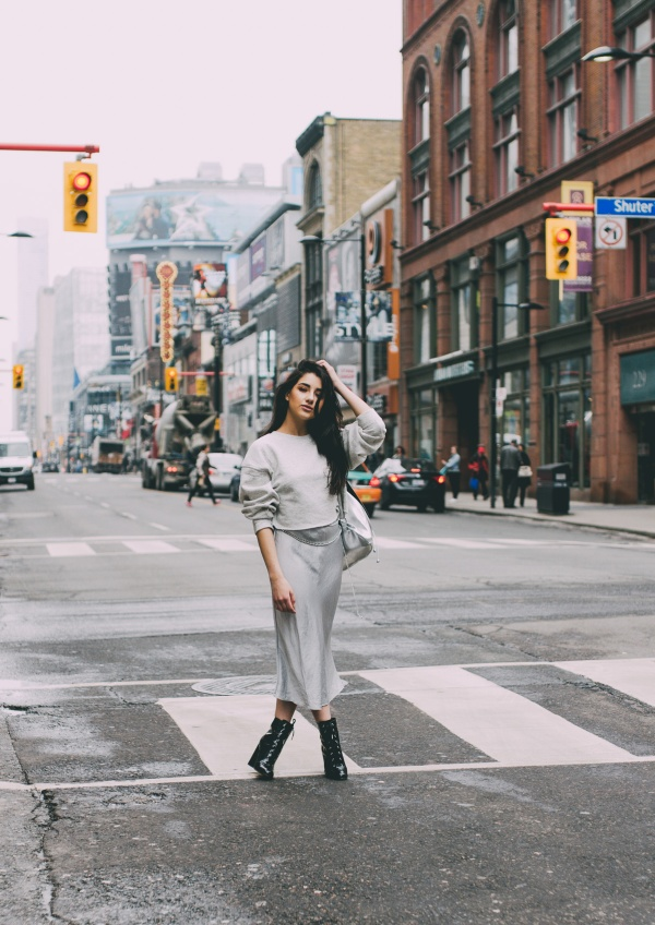 Ashley Settingiano Downtown Toronto Street Style Silver Slip Dress